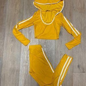 FashionNova mustard yellow jumpsuit
